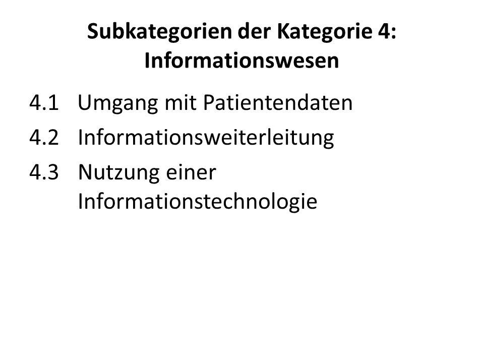 Subkategorien der Kategorie 4: Informationswesen