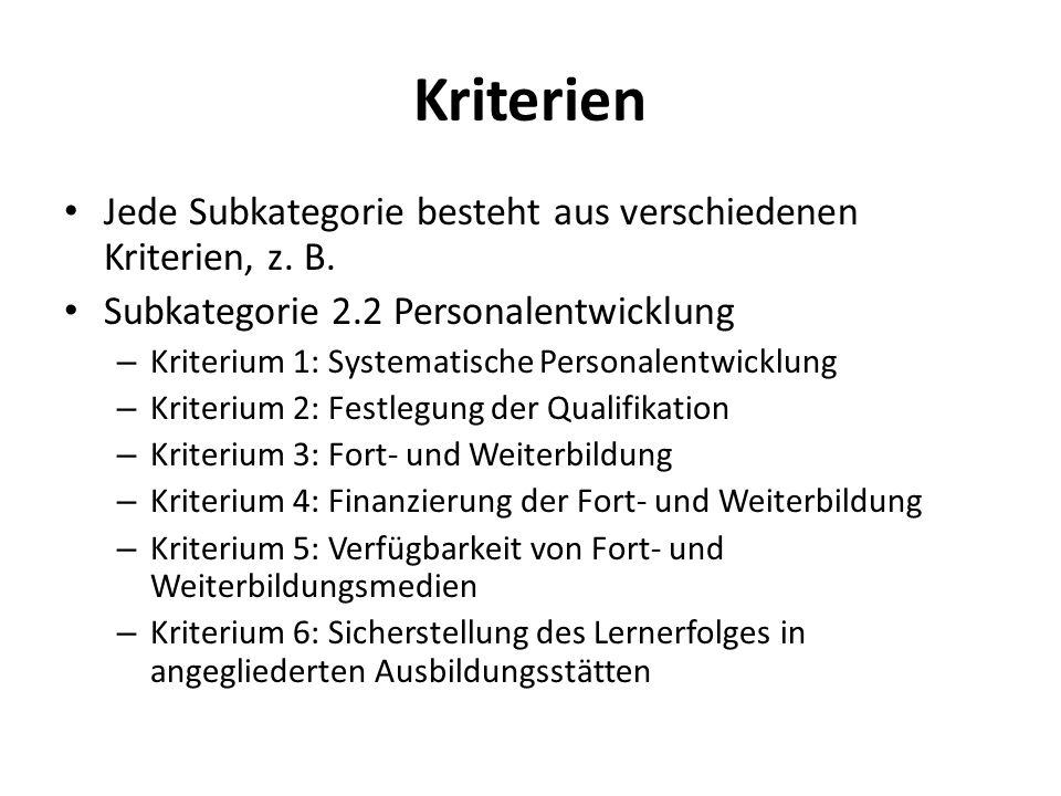 Kriterien Jede Subkategorie besteht aus verschiedenen Kriterien, z. B.