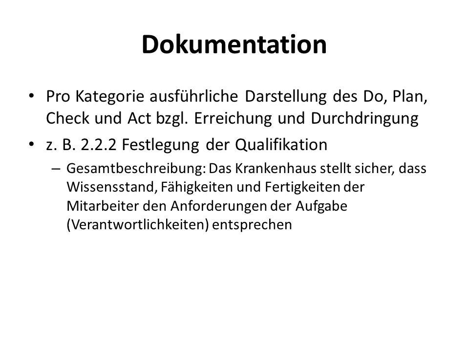 Dokumentation Pro Kategorie ausführliche Darstellung des Do, Plan, Check und Act bzgl. Erreichung und Durchdringung.