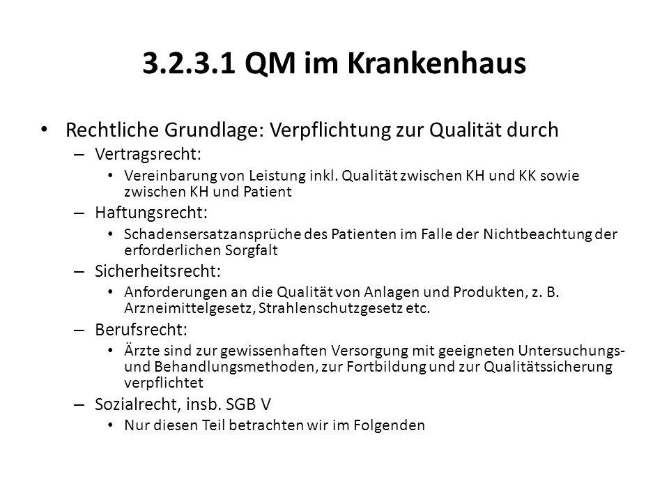 3.2.3.1 QM im Krankenhaus Rechtliche Grundlage: Verpflichtung zur Qualität durch. Vertragsrecht: