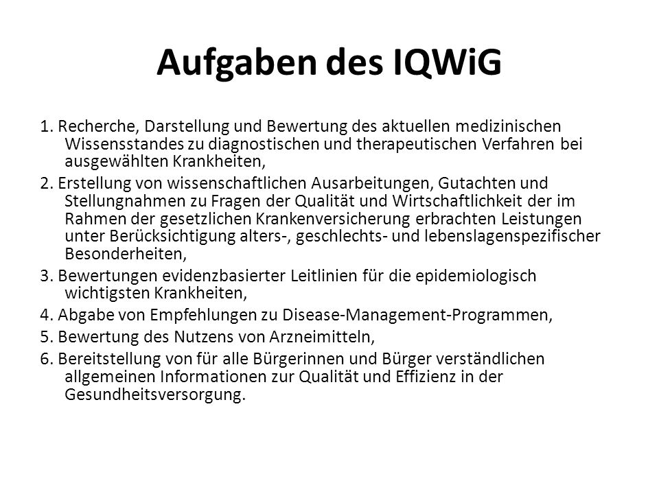 Aufgaben des IQWiG