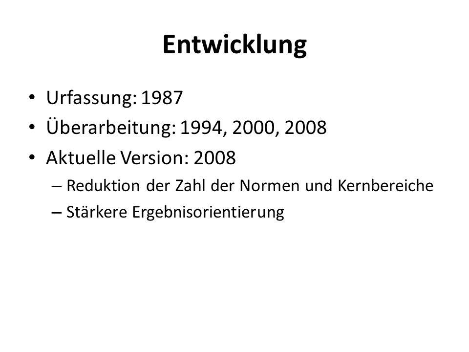 Entwicklung Urfassung: 1987 Überarbeitung: 1994, 2000, 2008