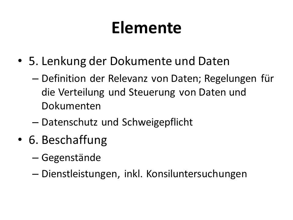 Elemente 5. Lenkung der Dokumente und Daten 6. Beschaffung