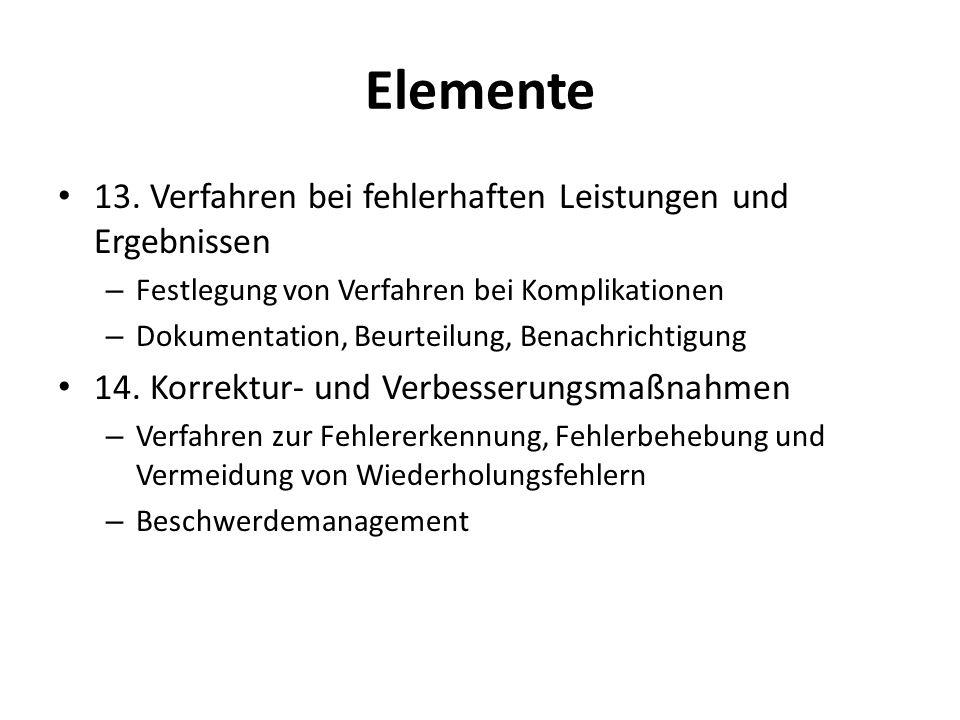 Elemente 13. Verfahren bei fehlerhaften Leistungen und Ergebnissen