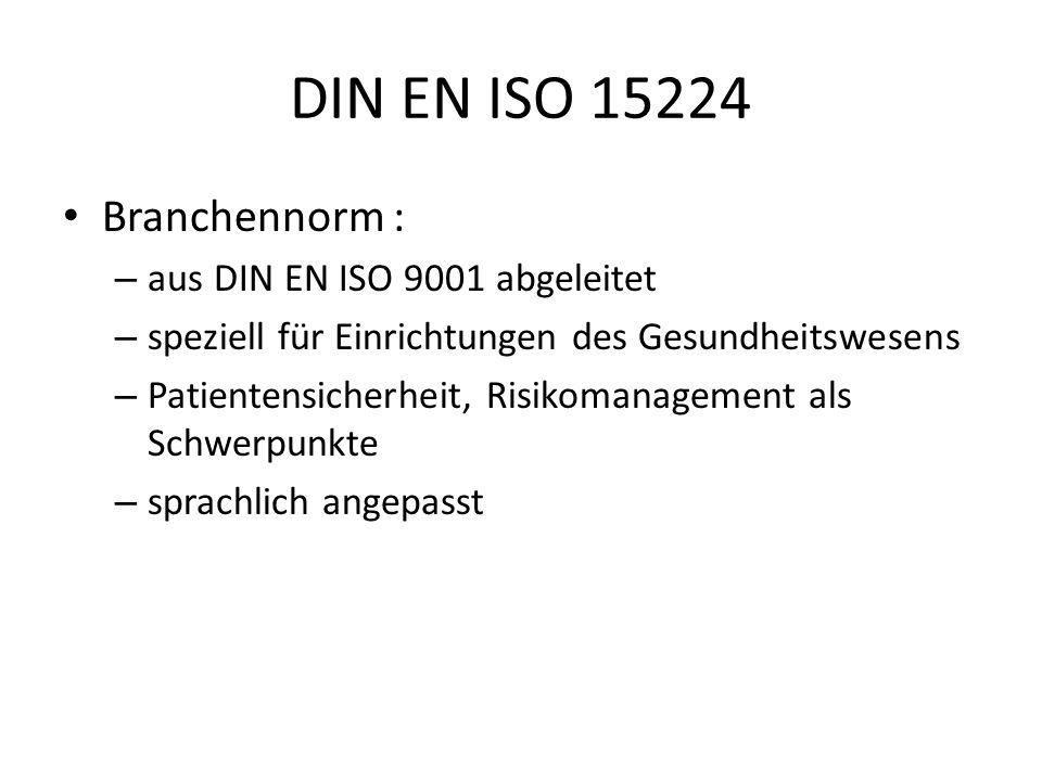 DIN EN ISO 15224 Branchennorm : aus DIN EN ISO 9001 abgeleitet