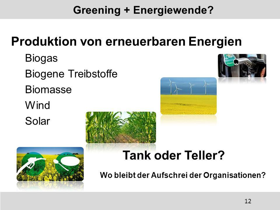 Produktion von erneuerbaren Energien