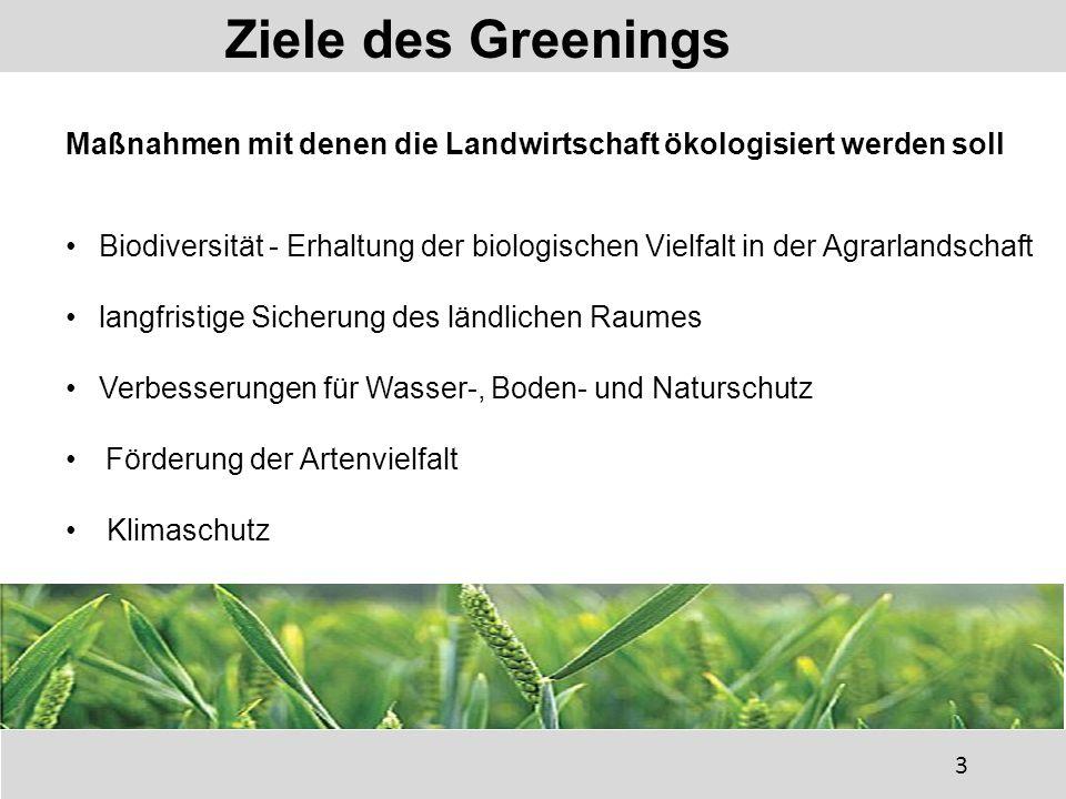 Ziele des Greenings Maßnahmen mit denen die Landwirtschaft ökologisiert werden soll.