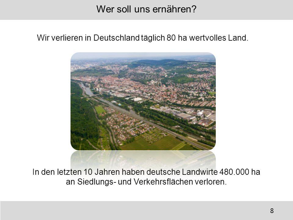 Wer soll uns ernähren Wir verlieren in Deutschland täglich 80 ha wertvolles Land. In den letzten 10 Jahren haben deutsche Landwirte 480.000 ha.