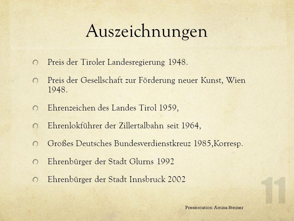 Auszeichnungen Preis der Tiroler Landesregierung 1948.