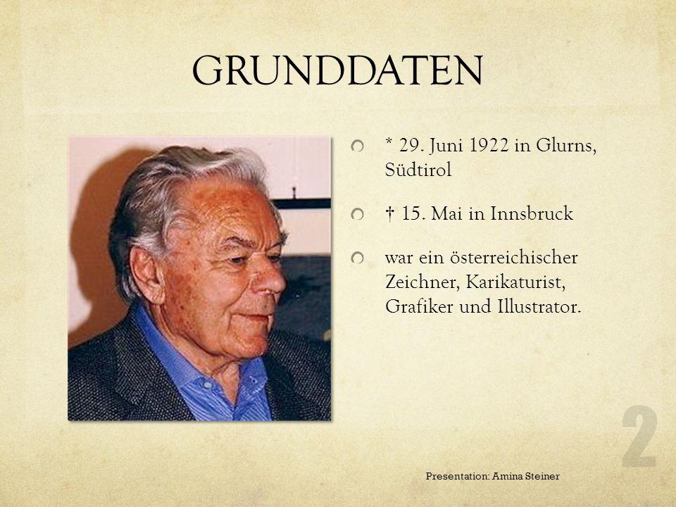 GRUNDDATEN * 29. Juni 1922 in Glurns, Südtirol † 15. Mai in Innsbruck