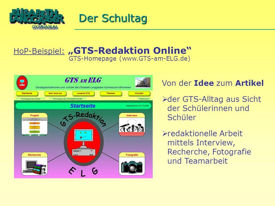 """Der Schultag HoP-Beispiel: """"GTS-Redaktion Online"""