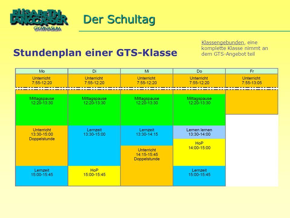 Stundenplan einer GTS-Klasse