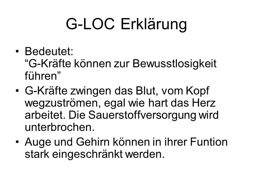 G-LOC Erklärung Bedeutet: G-Kräfte können zur Bewusstlosigkeit führen