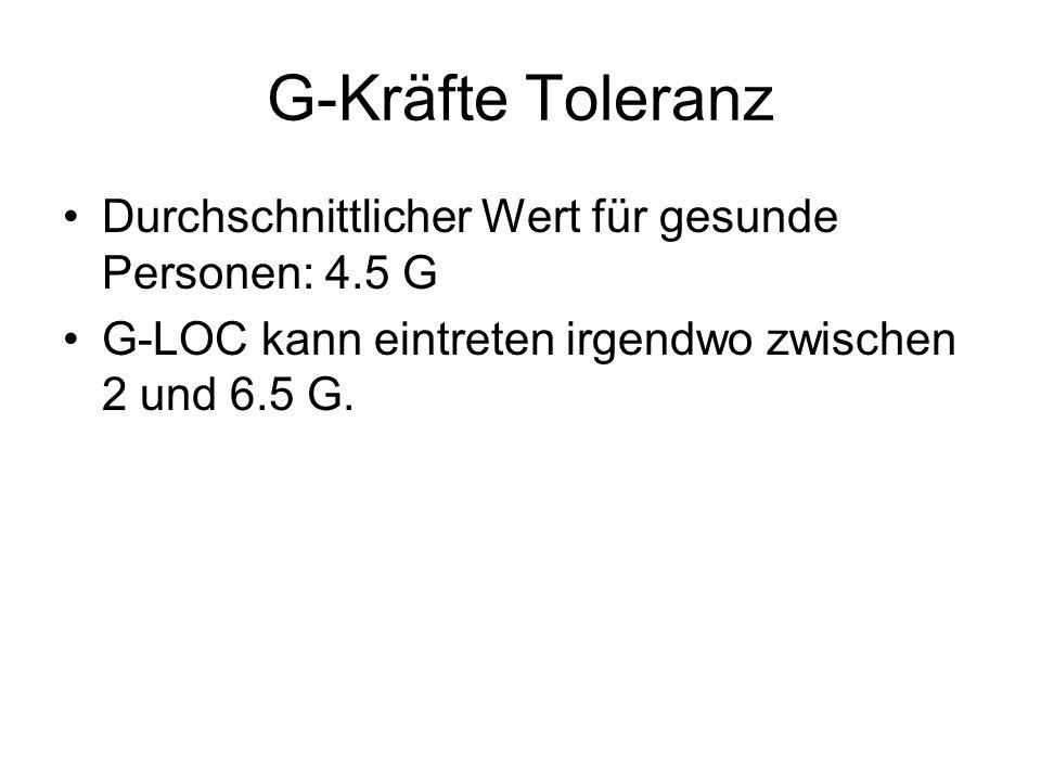 G-Kräfte Toleranz Durchschnittlicher Wert für gesunde Personen: 4.5 G