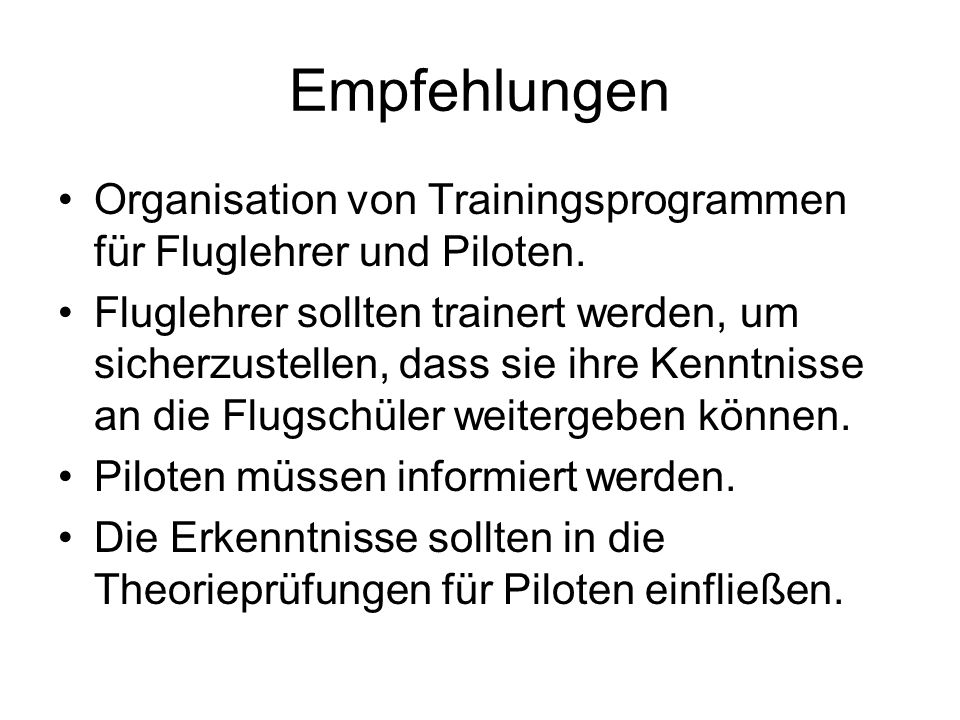 Empfehlungen Organisation von Trainingsprogrammen für Fluglehrer und Piloten.