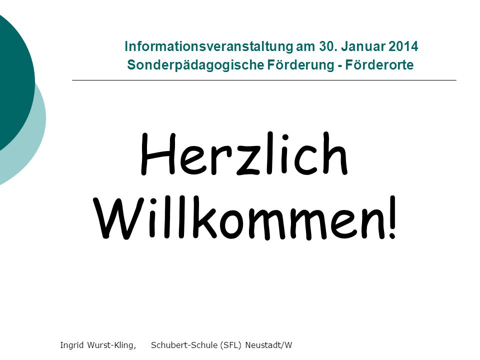 Ingrid Wurst-Kling, Schubert-Schule (SFL) Neustadt/W