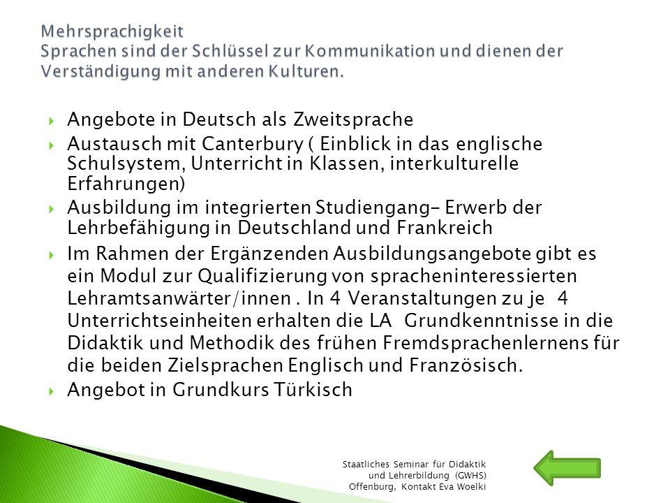 Angebote in Deutsch als Zweitsprache
