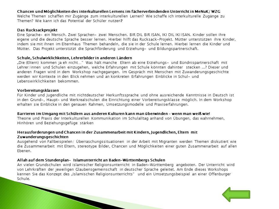 Chancen und Möglichkeiten des interkulturellen Lernens im fächerverbindenden Unterricht in MeNuK/ WZG