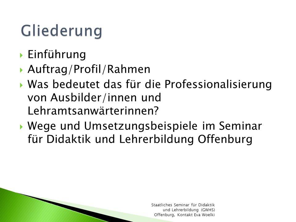 Gliederung Einführung Auftrag/Profil/Rahmen