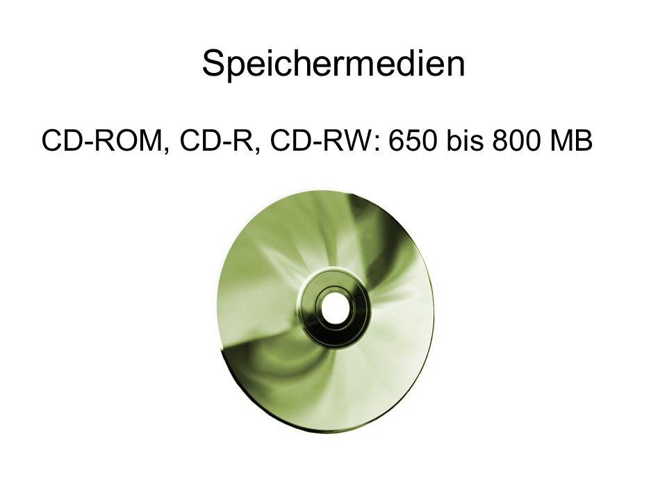 Speichermedien CD-ROM, CD-R, CD-RW: 650 bis 800 MB