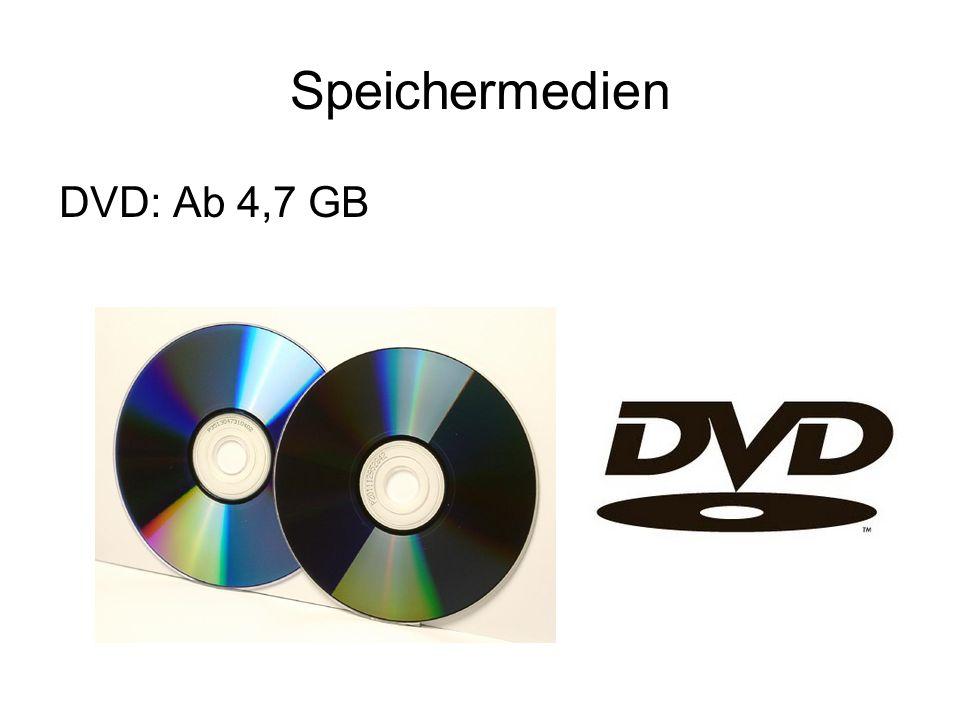 Speichermedien DVD: Ab 4,7 GB