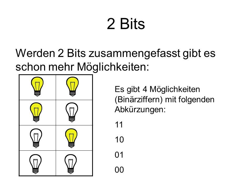 2 Bits Werden 2 Bits zusammengefasst gibt es schon mehr Möglichkeiten: