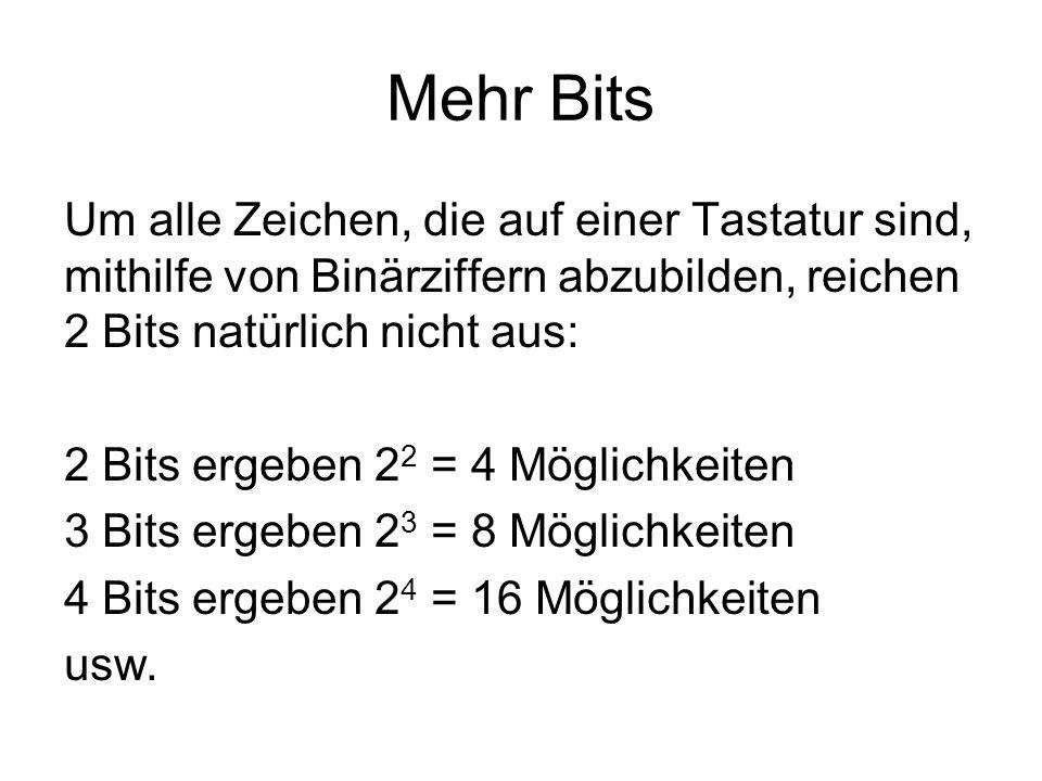 Mehr Bits Um alle Zeichen, die auf einer Tastatur sind, mithilfe von Binärziffern abzubilden, reichen 2 Bits natürlich nicht aus: