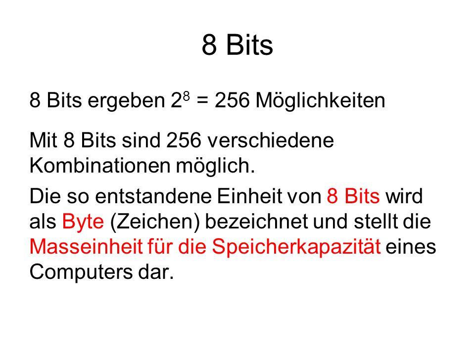 8 Bits 8 Bits ergeben 28 = 256 Möglichkeiten
