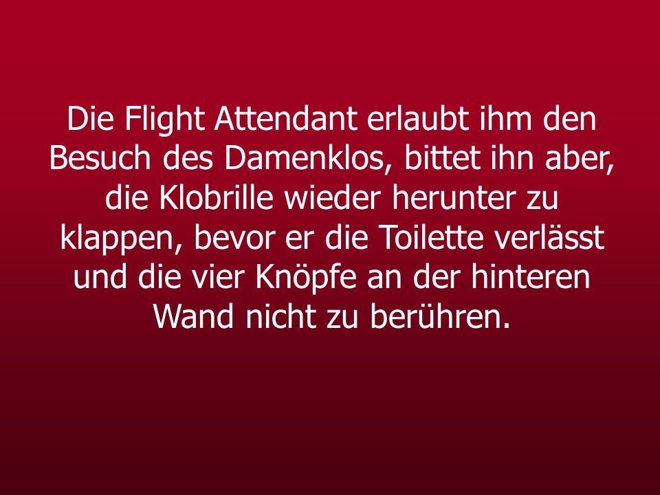 Die Flight Attendant erlaubt ihm den Besuch des Damenklos, bittet ihn aber, die Klobrille wieder herunter zu klappen, bevor er die Toilette verlässt und die vier Knöpfe an der hinteren Wand nicht zu berühren.