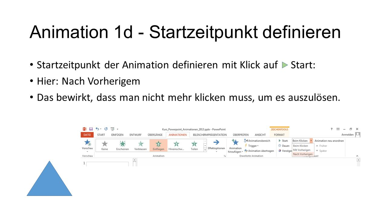 Animation 1d - Startzeitpunkt definieren