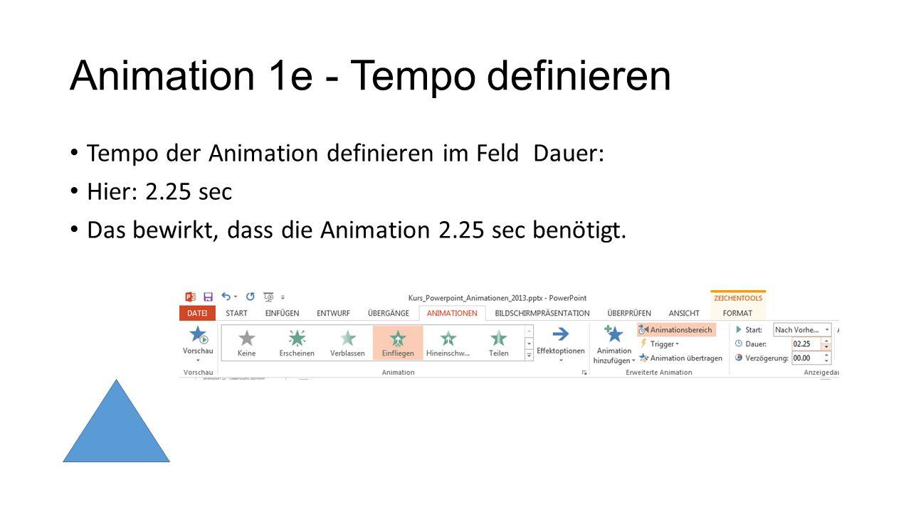 Animation 1e - Tempo definieren