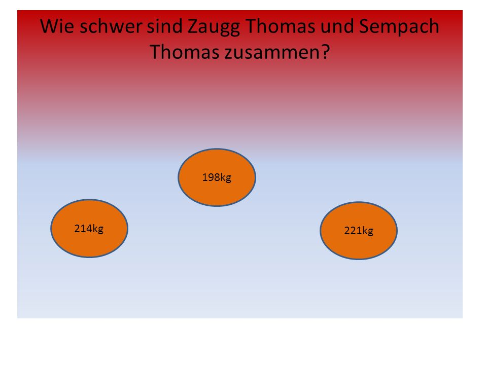Wie schwer sind Zaugg Thomas und Sempach Thomas zusammen