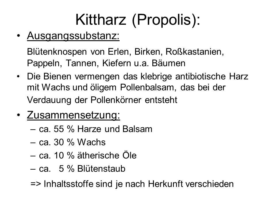 Kittharz (Propolis): Ausgangssubstanz: