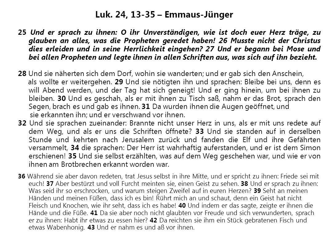 Luk. 24, 13-35 – Emmaus-Jünger