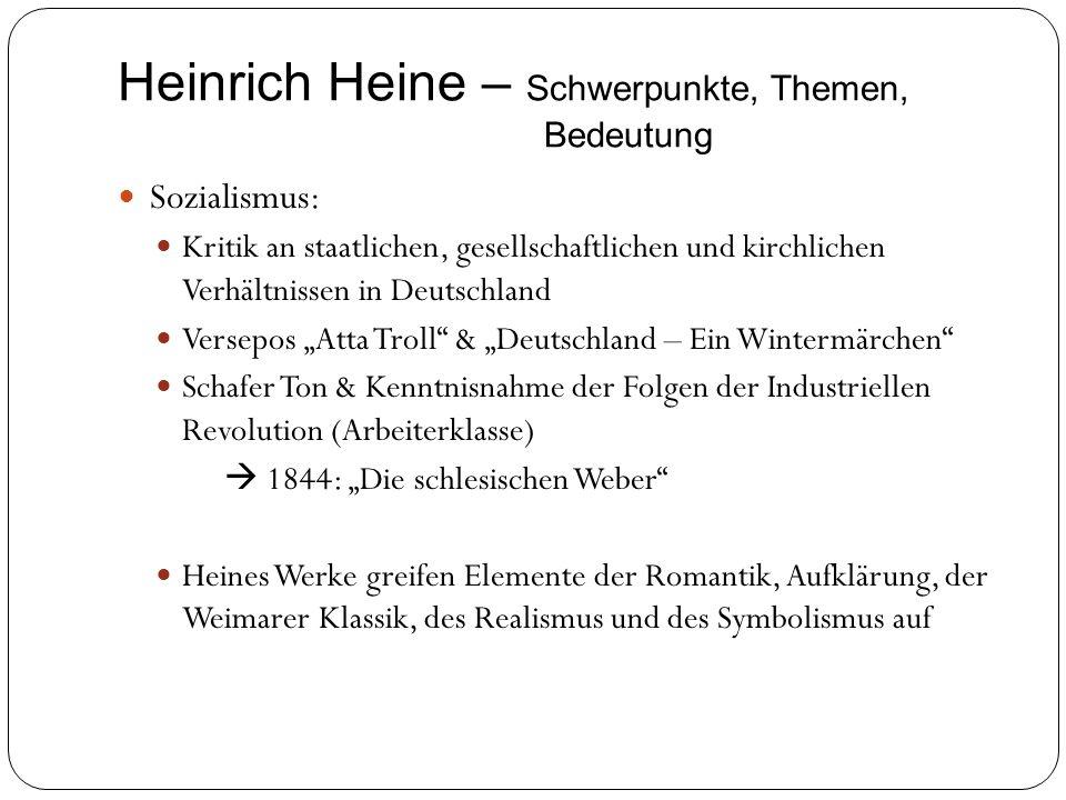 Heinrich Heine – Schwerpunkte, Themen, Bedeutung