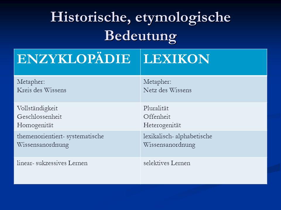 Historische, etymologische Bedeutung