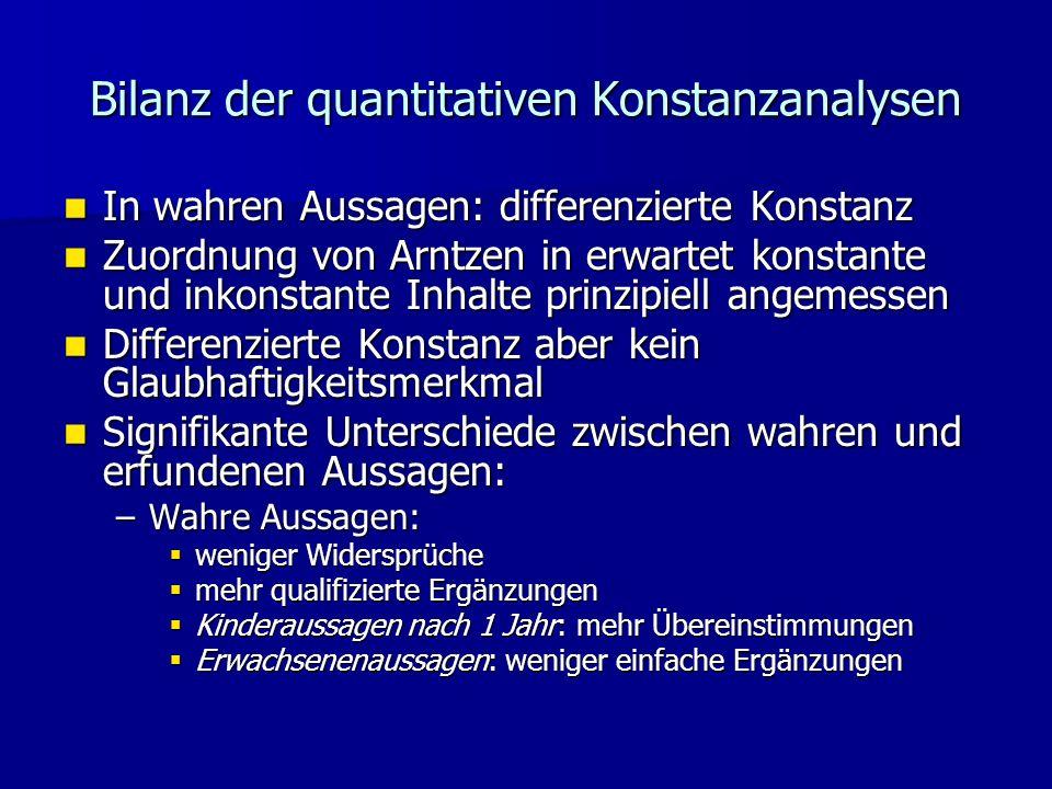 Bilanz der quantitativen Konstanzanalysen