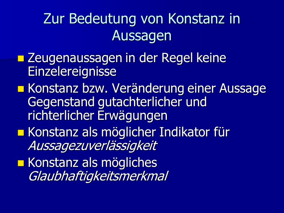 Zur Bedeutung von Konstanz in Aussagen