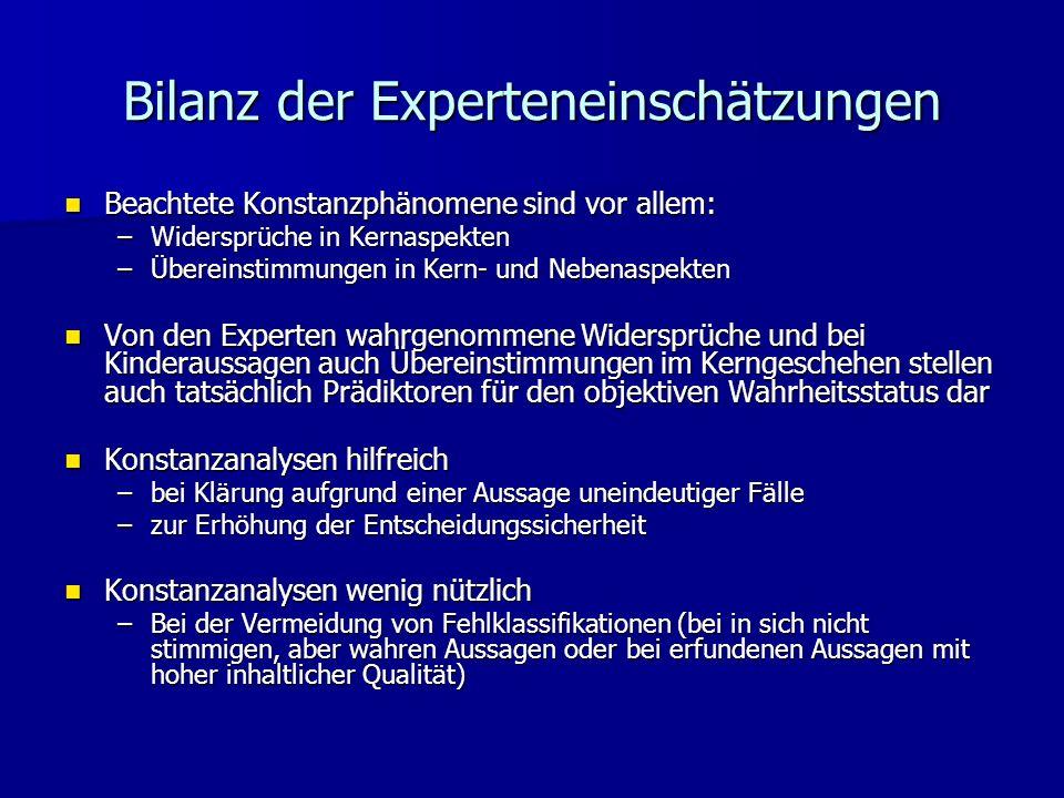 Bilanz der Experteneinschätzungen