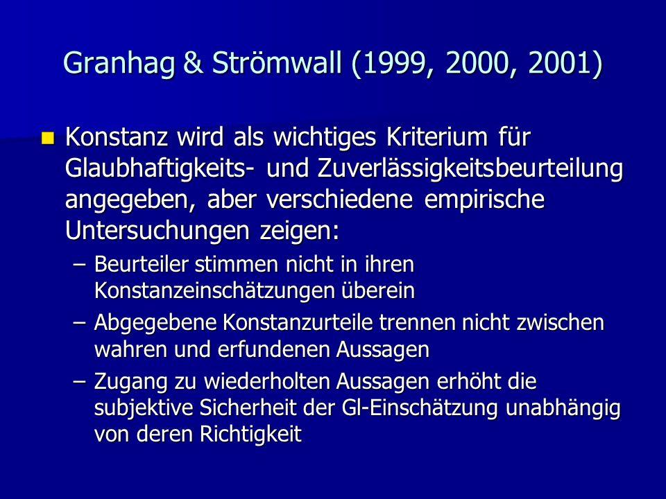 Granhag & Strömwall (1999, 2000, 2001)
