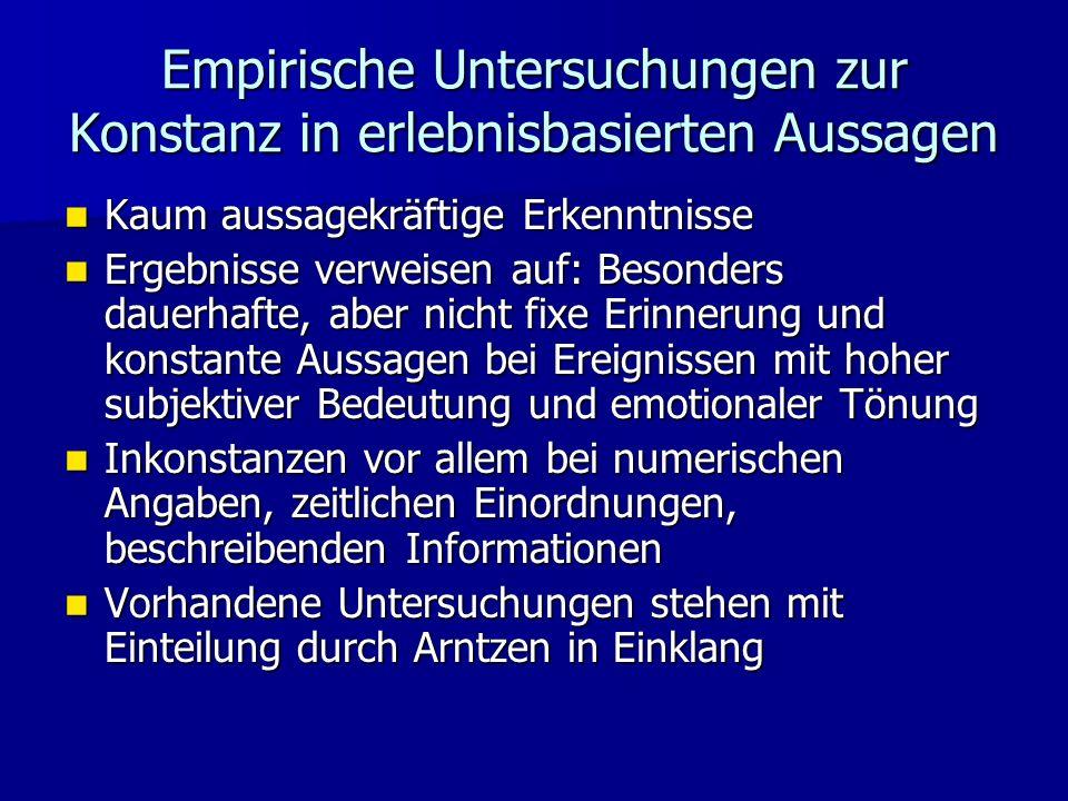 Empirische Untersuchungen zur Konstanz in erlebnisbasierten Aussagen