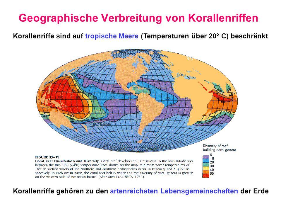 Geographische Verbreitung von Korallenriffen