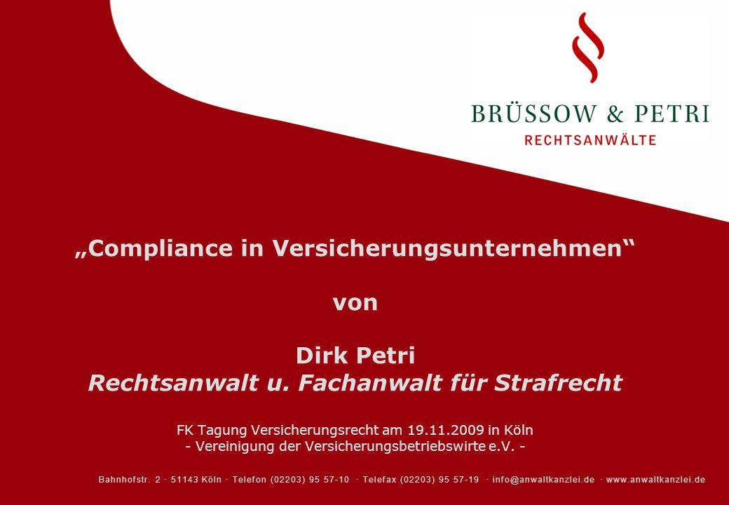 """""""Compliance in Versicherungsunternehmen von Dirk Petri Rechtsanwalt u"""