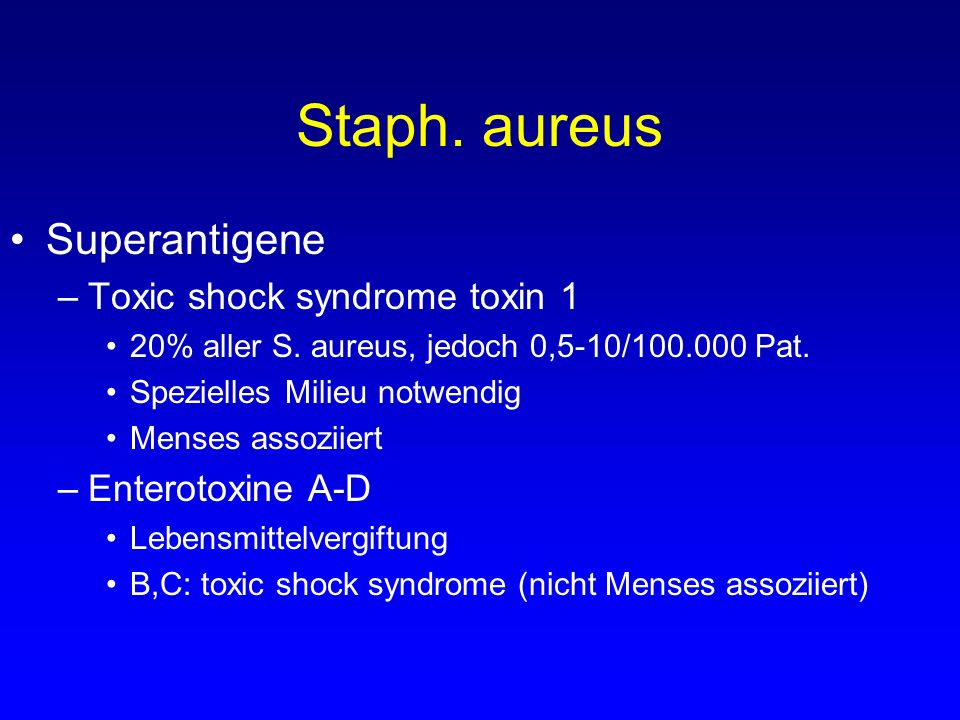 Staph. aureus Superantigene Toxic shock syndrome toxin 1