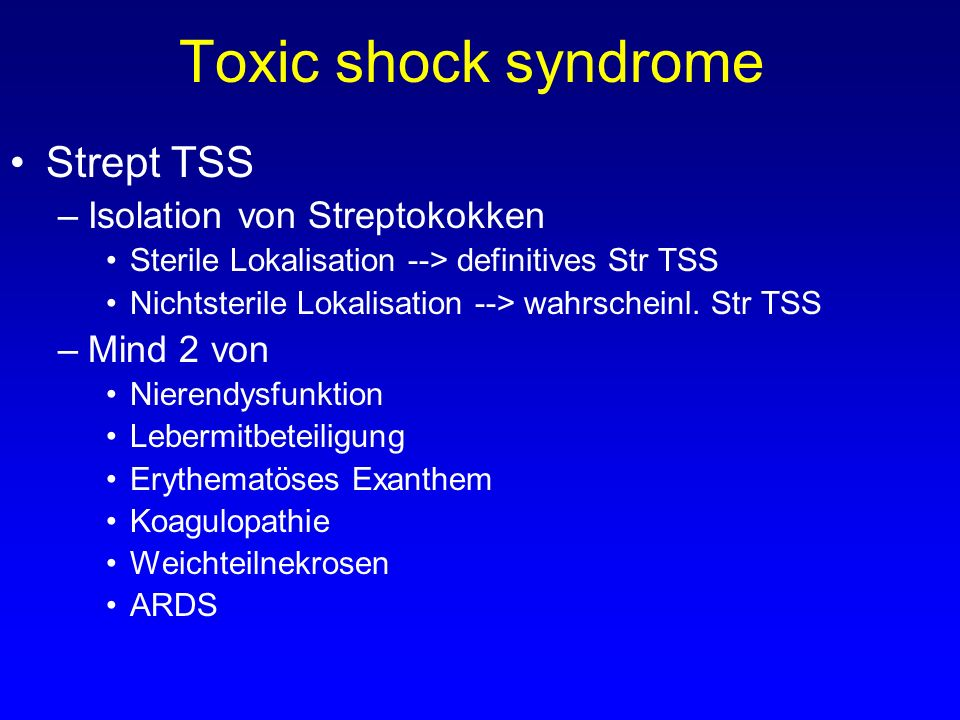 Toxic shock syndrome Strept TSS Isolation von Streptokokken Mind 2 von