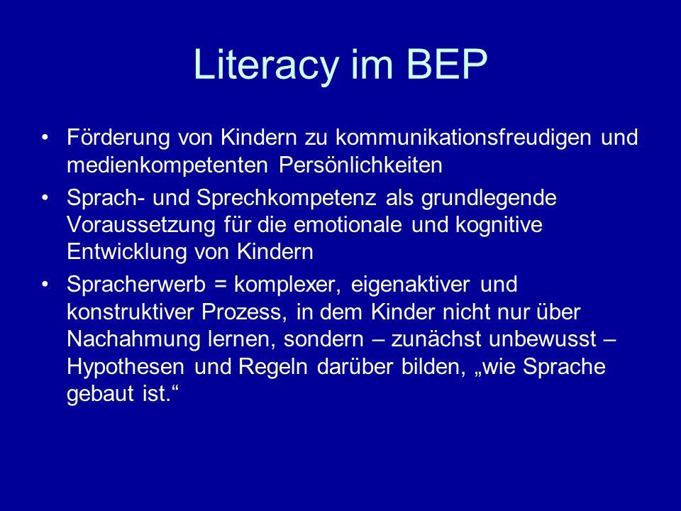 Literacy im BEP Förderung von Kindern zu kommunikationsfreudigen und medienkompetenten Persönlichkeiten.