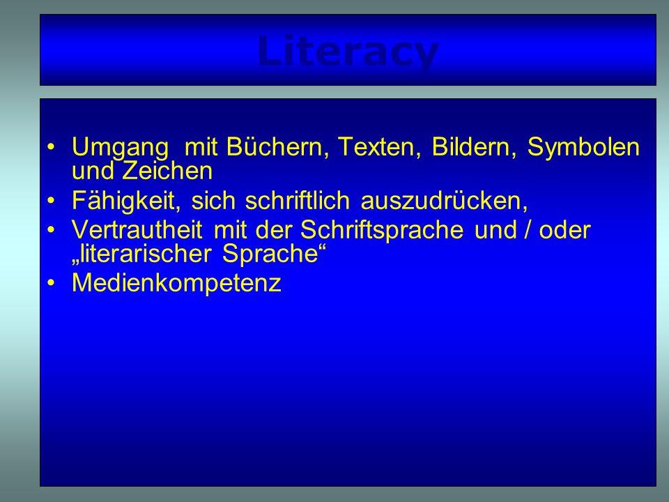 Literacy Umgang mit Büchern, Texten, Bildern, Symbolen und Zeichen