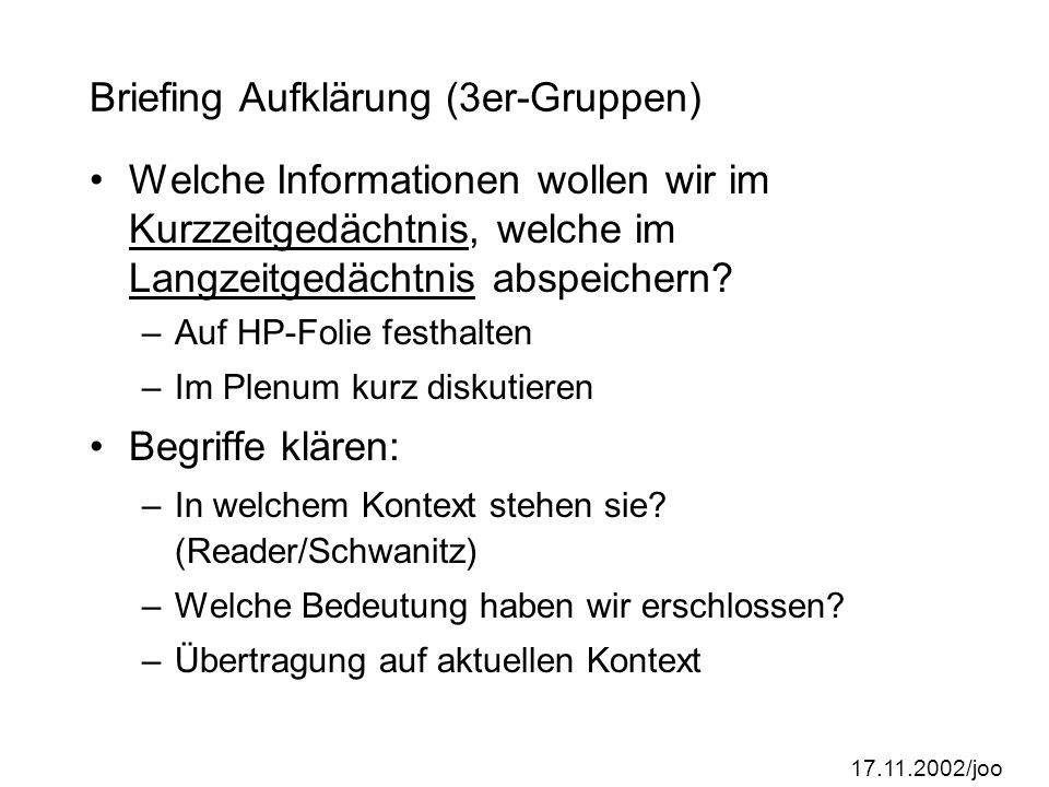 Briefing Aufklärung (3er-Gruppen)