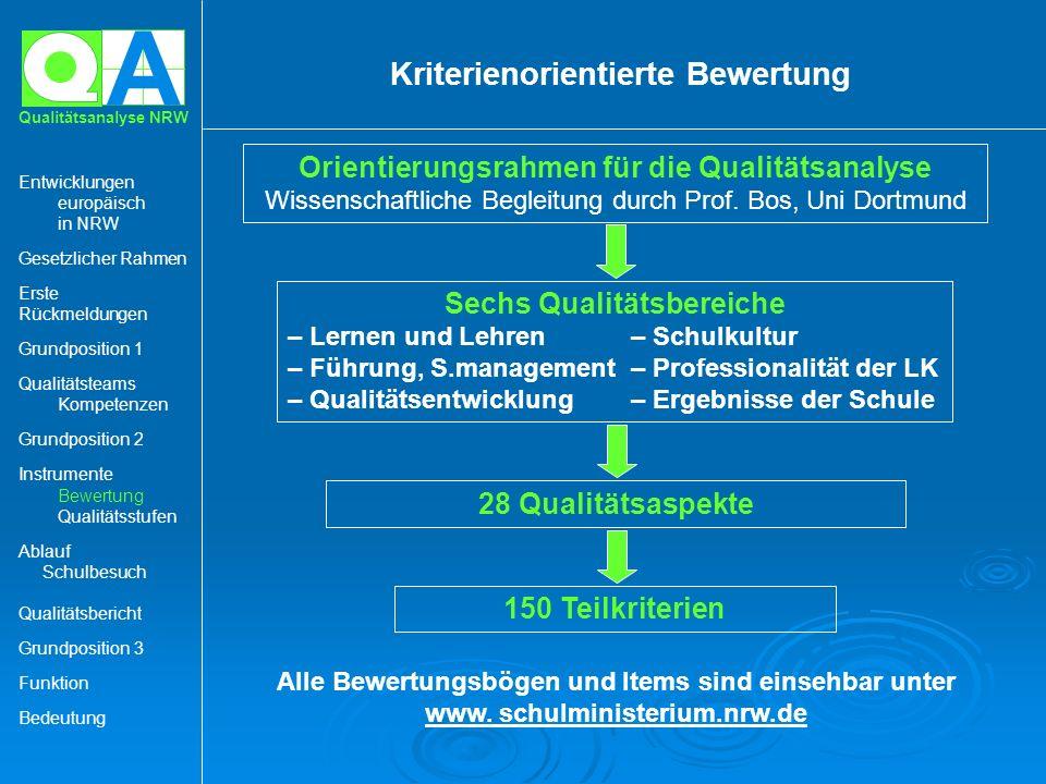 Kriterienorientierte Bewertung Sechs Qualitätsbereiche
