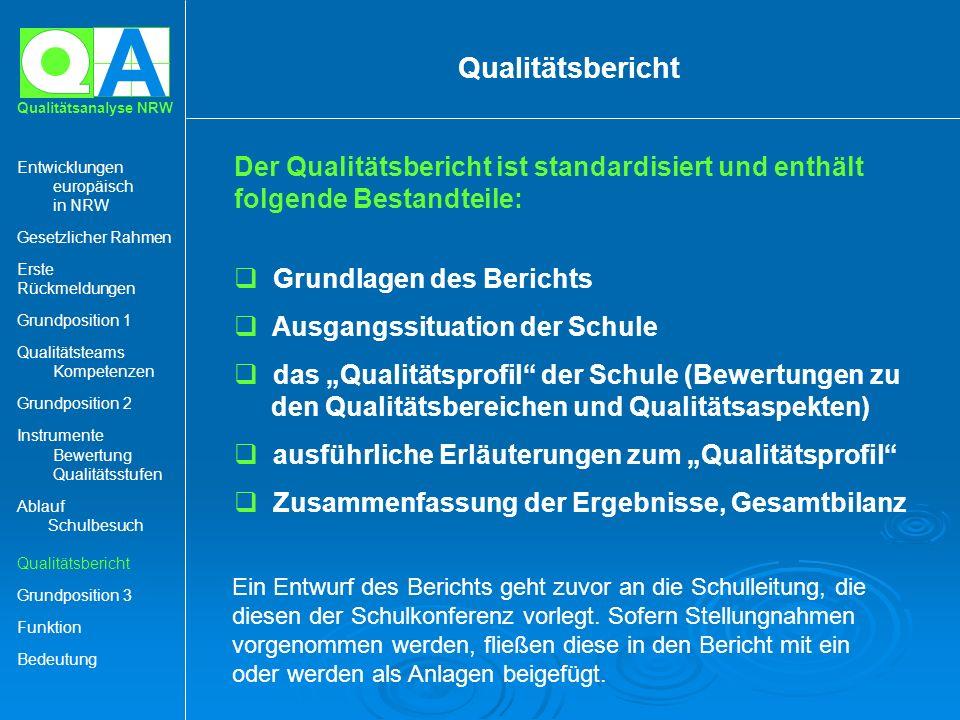 Qualitätsbericht Grundlagen des Berichts Ausgangssituation der Schule